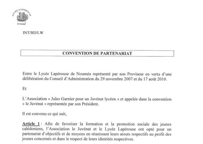 La convention de partenariat avec le Lycée Lapérouse